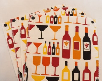 UnPaper Towels- Cleaning Cloths- Eco friendly- Set of 12- Wine Bottles on White- 32014