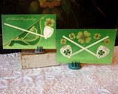 Antique Postcards, St. Patrick's Day, Set of Two, Vintage Ephemera, Pipes, Shamrocks