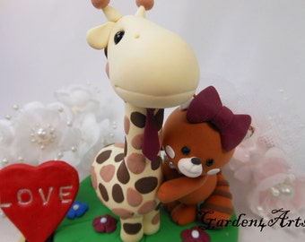 Custom wedding cake topper - Love giraffe & red panda couple with clay grass base