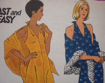 1970s Evening Dress and Shawl Plunging Neckline Halter Dress Backless Butterick 3678 Uncut FF Size 10 Bust 32 Women's Vintage Sewing Pattern