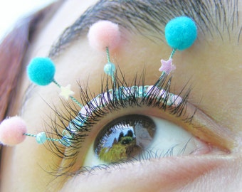 Gumball Puff Eyelash Jewelry - pompom eyelashes for ravers, clowns, festivals