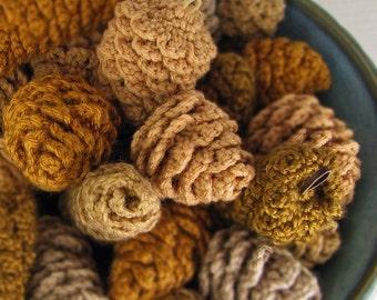 Crochet Pinecone Ornament  Rustic Decor Vase Filler - Tans- Golden Browns -  (6 Cones)