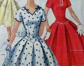 50s Dress Pattern Long Line Bodice Full Skirt Simplicity 1076 Bust 30 Rockabilly Dress