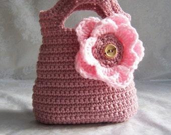 Crochet Purse for Girls, Crochet Purse, Pink Purse, Flower Purse, Purse with Handles