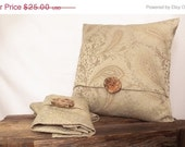Pillow Cover 18x18 Beige Paisley Print ,Woven Silk Fabric. Wood Button
