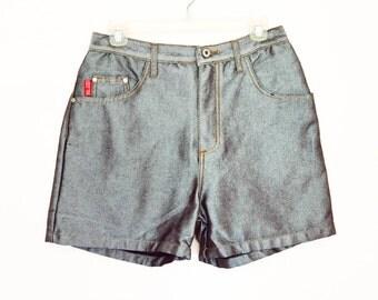 "90's Silver Denim Shorts size - M/L - 30"" waist"