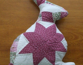 Upcycled Bunny Rabbit Quilted Bunny Pillow
