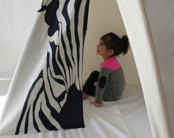 Play Tent - Zebra Hides Teepee in navy blue