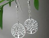 Sterling Silver Tree of Life Dangle Earrings Womens Girls Teens Jewelry Gift