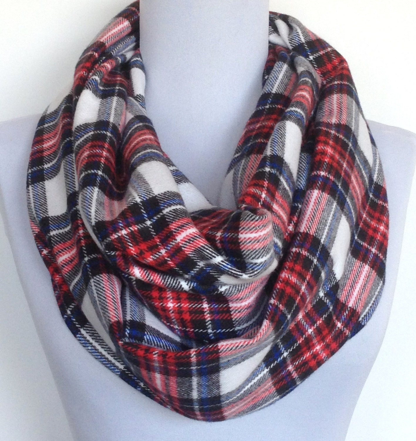 Infinity Scarf In Red White Blue And Black Tartan Plaid