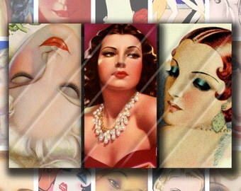 1x2 Digital Printable Domino Art RETRO GLAM collage sheet for Pendants Magnets Crafts...1920-30s Art Deco Flappers Movie Stars