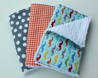 Chenille Burp Cloths - Baby Boy Burp Cloth Set - Multicolor Mustache, Orange Houndstooth, Grey Polka Dots - Riley Blake - Baby Boy Gift