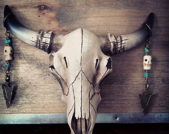 Bone Skull and  Arrowhead Bronze earrings Native/tribal Free people style Bohemian Tribal style