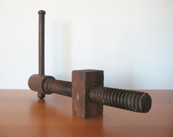 Antique Bench Vise Screw - Industrial Display