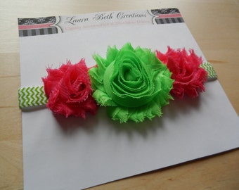 Shabby Chic Triple Rose Chevron Headband - Lime & Hot Pink - Baby Headband - Newborn Headband - Childrens Headband - Flower Headband