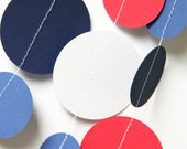 Patriotic Garland - Red, White & Blue circle garland (15 feet) - READY TO SHIP
