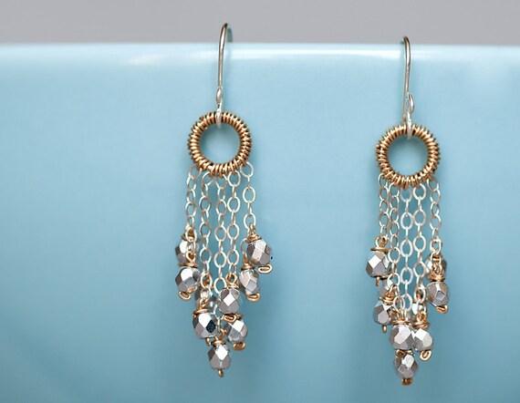 Earrings, chandelier, sterling silver, 14k gold fill, modern, feminine