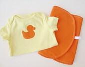 6 - 9 Mo Duck Theme Baby Gift Set - Yellow Bodysuit with Orange Polkadot Duck and Matching Burpie - Free Shipping
