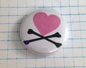 Heart and Crossbones Button
