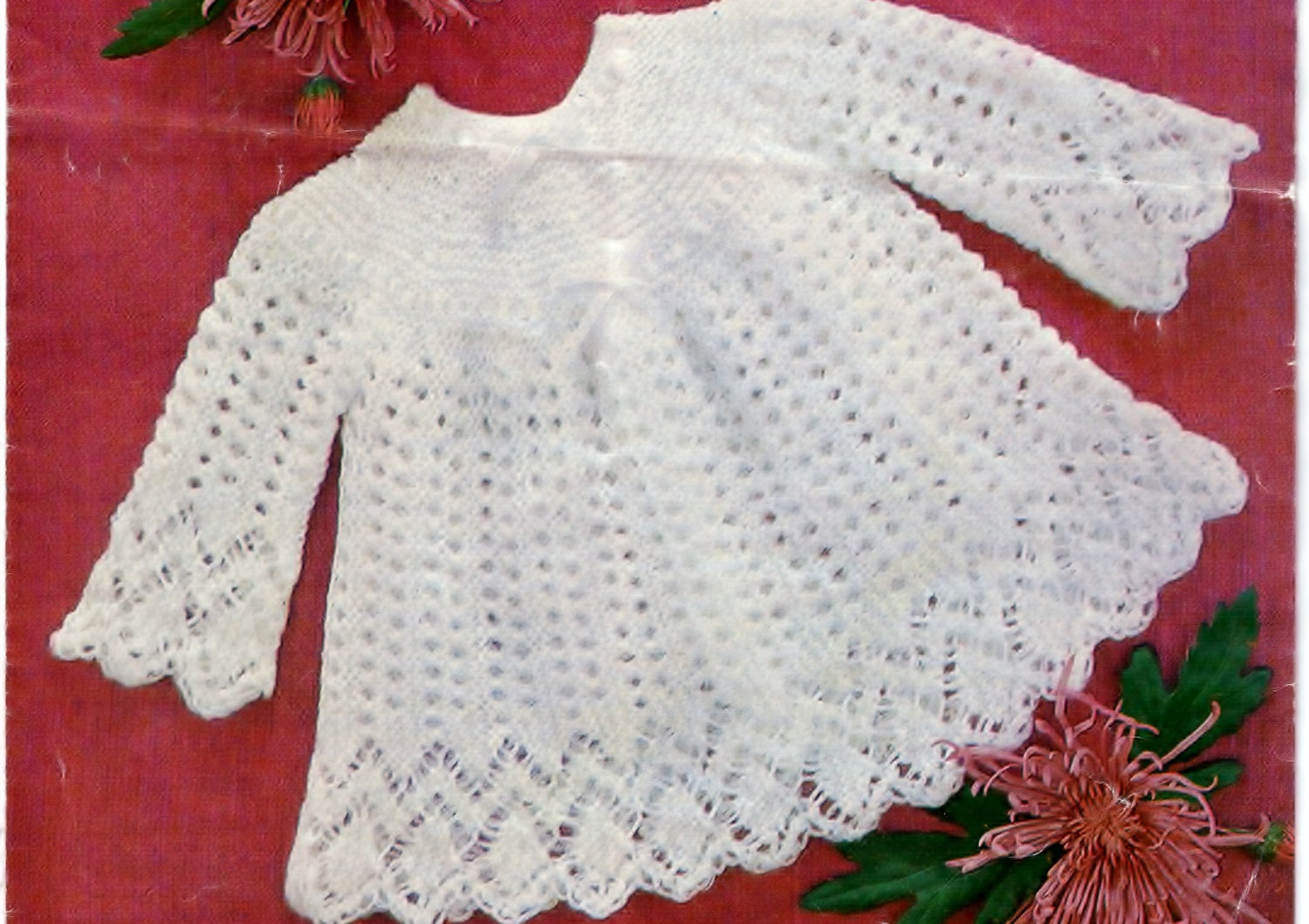 Baby Girl Knitted Sweater Pattern : PDF knitting pattern, baby sweater, top, baby girl, baby dress pattern, digit...