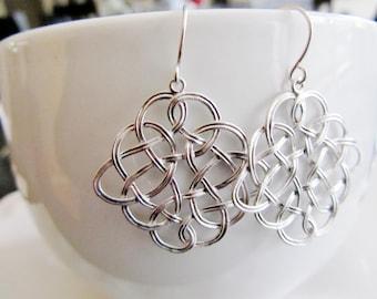 Silver Celtic Earrings, Celtic Knot Pendants, Irish Jewelry, Silver Woven Design, Everyday Earrings, Bridesmaid Earrings
