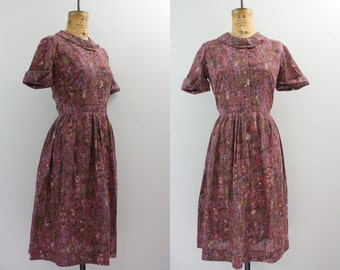 vintage 1950s purple dress / 50s day dress / abstract print dress large