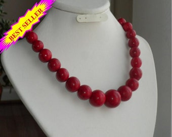Red statement necklace, large graduated natural gemstones, howlite, best seller, chunky, gift idea, big bold, handmade, beaded