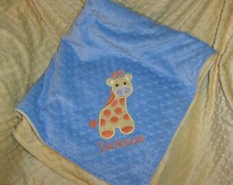 Giraffe Personalized Minky Baby Blanket, Personalized Baby Gift, Giraffe Appliqued Minky Baby Blanket, Giraffe Nursery
