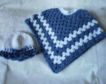 Denim Spray Poncho ( Size 2 to 4) and Hat Set