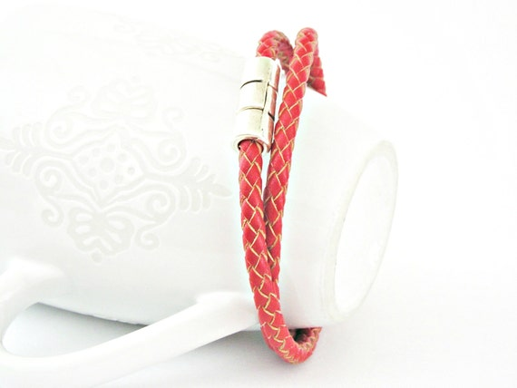 Double wrapped red braided leather bracelet with magnetic clasp