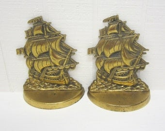 Vintage Brass Or Bronze Sailing Ship Bookends Made In England