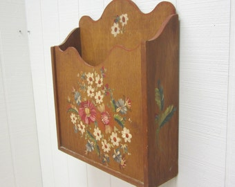 Vintage Wooden Wall Pocket Wall Pouch Wall Box Floral Tole Painted Wood