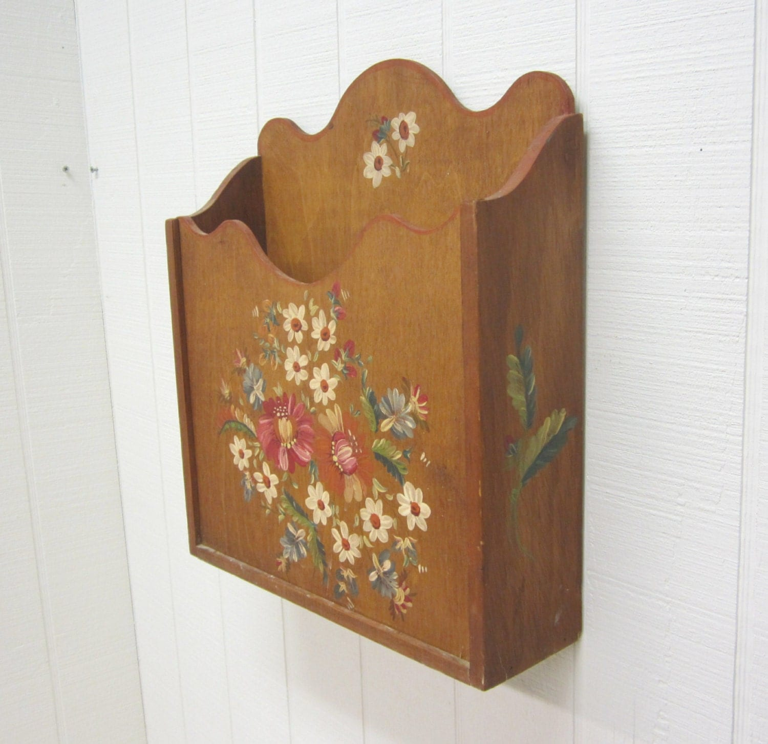 Wooden Wall Boxes : Vintage wooden wall pocket pouch box floral tole