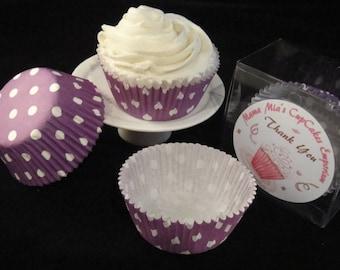 Purple with Medium White Polka Dots Cupcake Liners