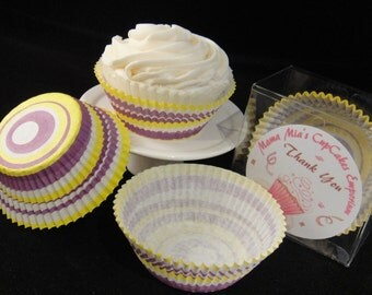 Yellow and Purple Swirl Cupcake Liners