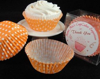 Orange Polka Dot Cupcake Liners