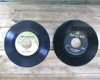 ROY ORBISON Leah record 45 rpm early MONUMENT label and mgm vintage 1950s 1960s lot of 2