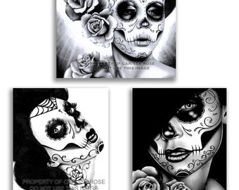 Set of THREE Art Prints - Black and White Day of the Dead Portraits 5x7, 8x10, apprx 11x14