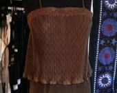 Amazing Brown-Green Accordian Pleat Double Layer Midi Dress 70s XS-M