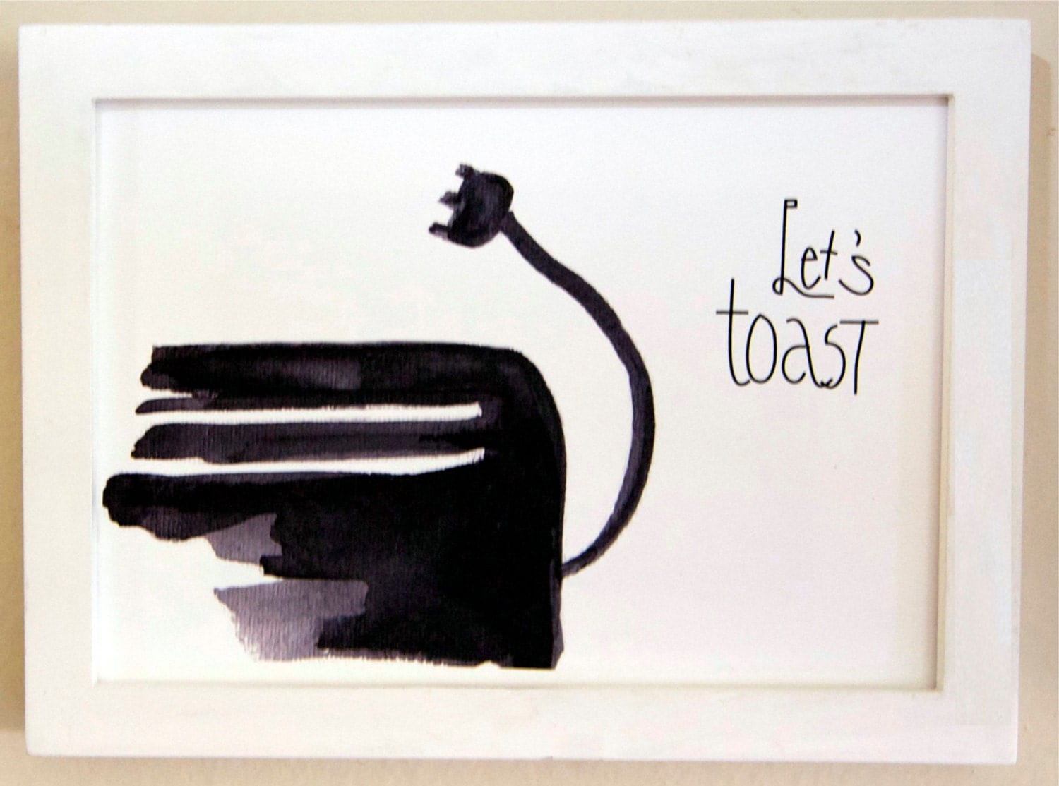 Lets Toast Black And White Watercolor Print