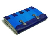Turquoise Blue Leather Sketchbook, Large Leather Journal, Navy Blue Leather with Silver Knotwork Clasps
