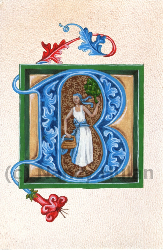 Medieval Illuminated Letter B, Alphabet Letter B, Painted Initial B ...
