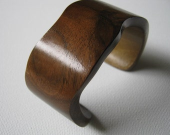 Wavy Walnut Burl Cuff Bracelet