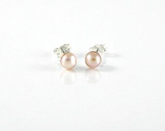 Pink Pearl Stud Earrings Pearl Earrings, Pearl Jewelry, Sterling Silver Post Earrings, Women Earrings, Bridesmaid Gift Pearl Earrings