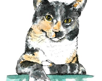 "Custom dog portrait original watercolor painting 5"" x 7"" animal art custom pet portrait cat portrait pen and ink"