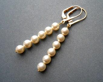 Pearl Earrings  Bridal Pearl Earrings In Gold With Cream Swarovski Pearls
