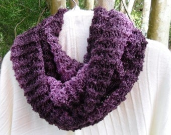 Cozy and soft  Infinity scarf in shades of purples and mauve in fine boucle