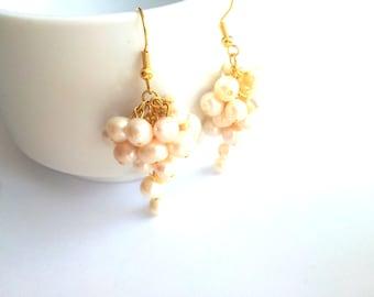 Earrings water pearl with gold plated earring hooks,  wedding, pearl, jewelry, earrings, wedding, bridesmaid, cij