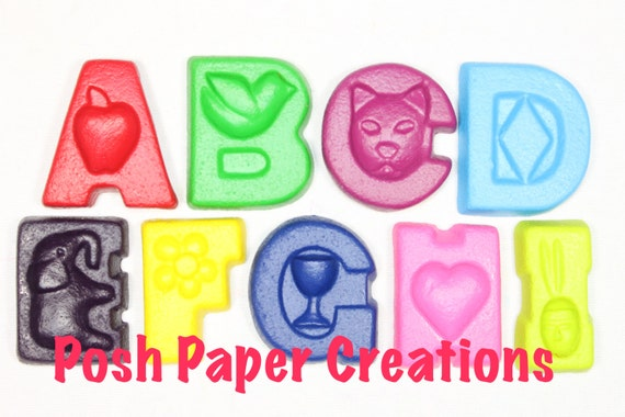 Fun letter crayons - seven (7) - assorted colors