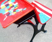 Child's Desk Old School Recycled Furnishings Hand Painted Americana Decor